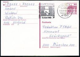 4150 KREFELD 1/ Ma #bzw.#nh/ 300 JAHRE/ DEUTSCHE/ IN AMERIKA 1983 2 Verschiedene MWSt = US-Flagge, Segelschiff Klar Auf  - Geschiedenis