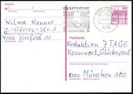 415 KREFELD 1/ Nd/ 300 JAHRE/ DEUTSCHE/ IN AMERIKA 1983 (5.12.) MWSt (US-Flagge, Segelchiff) Klar Auf Bedarfskarte (Bo.7 - Geschiedenis