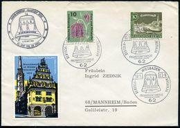 62 WIESBADEN/ DT.-AMERIKAN./ FREUNSCHAFTSWOCHE 1963 (12.5.) SSt = Freiheitsglocke + Motivgl. SSt.: US-Feldpostamt + Prop - Geschiedenis