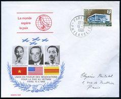 FRANKREICH 1968 (10.5.) Vietnam-Friedens-Konferenz Paris Auf SU.: Ho Chi Minh, L.B.Johnson, N.G.Ky, Klar Gest. Orts-Bf.  - Geschiedenis