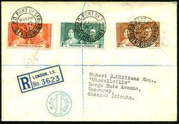 TRINIDAD & TOBAGO 1937 (12.5.) 2K: G.P.O. PORT OF SPAIN 3x Auf Kompl. Satz Krönung, Hs. R-Nr., In London Nachgezettelt ( - Zonder Classificatie