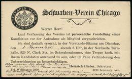 U.S.A. 1927 (Okt.) Amtl. P 1 C. Jefferson , Grün +. Rs. Privat-Zudruck: Schwaben-Verein Chicago (schwäbisches Wappen) De - Geschiedenis