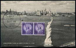 U.S.A. 1954 (20.7.) 2x 3 C. Liberty-Statue, Rollenmarken-Paar + 2 Verschiedene ET-SSt. (WASHINGTON D.C.)  Auf 2 ET-Maxim - Geschiedenis