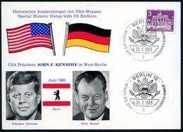 1 BERLIN 12/ B/ BESUCH DES USA-PRÄSIDENTEN KENNEDY 1963 (26.6.) SSt (US-Wappen) Je Auf 2 Verschiedenen Gedenkblättern. 2 - Geschiedenis