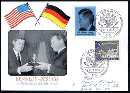 5300 BONN 1/ B/ BESUCH DES USA-PRÄSIDENTEN KENNEDY 1963 (23.6.) SSt (US-Wappen) Je Auf Kennedy-Vignette In Violett Bzw.  - Geschiedenis
