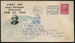 U.S.A. 1932 (22.2.) 2 C.Washington, EF + 2 HdN:..GEORGE WASHINGTON BICENTENNIAL.. + FIRST IN WAR/FIRST IN PEACE.., MWSt: - Geschiedenis