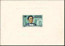 "ZENTRALAFRIKAN. REPUBLIK 1965 100 F. ""100. Todestag Präsident Abraham Lincoln"" (+ Motiv: Liberty-Statue) Ungez. Minister - Geschiedenis"
