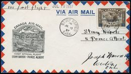 "CANADA 1937 (13.7.) Erstflug-Bf. ""STONY RAPIDS - PRINCE ALBERT"" (AS) + Amtl. Flp.-HdN: Indianer-Kanu/-Tipi, EF Flp. 6/5  - Geschiedenis"