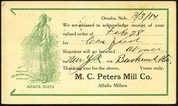 "U.S.A. 1914 (März) Reklame-PP 1 C. McKinley, Rot: M.C. Peters Mill Co./Omaha.. = Indianerin ""ALFALA QUEEN"" (Indianerin M - Geschiedenis"