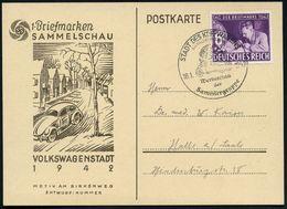 STADT DES KDF.-WAGENS/ Bei FALLERSLEBEN/ Werbeschau/ Der/ Sammlergruppe 1942 (18.1.) Sehr Seltener SSt (DAF-Logo, VW-Käf - Cars