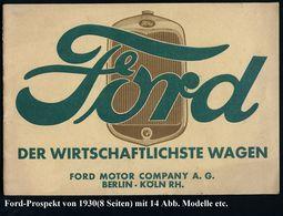 """DEUTSCHES REICH 1931 Zweifarbiger Prospekt Mit Ford-Modellen 1930, Dabei """"Standard Sedan"""", """"Phaeton"""", """"Roadster"""" U.a., I - Cars"""