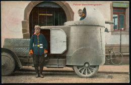 FLENSBURG/ *1h 1910 (20.12.) Color-Ak.: Panzer-Maschinengewehr = Panzerwagen Mit MG-Kuppel , 1K-Gitter: FLENSBURG/ * 1 H - Cars