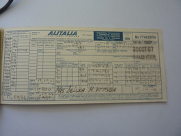 "Biglietto  Passeggeri E Controllo Bagaglio ""ALITALIA - OSAKA, TAIPEI, MANILA, HONG KONG, BANGKOK"" 1967 - Plane"