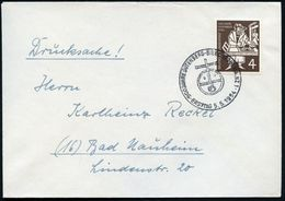 (22b) B.R.D. 1954 (5.5.) SSt.: (22 B) MAINZ 1/ 500 JAHRE GUTENBERG-BIBEL/ ERSTTAG (stilis.Globus Mit Kreuz) Auf EF 4 Pf. - Christendom