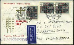 "53 B.R.D. 1963 (27.2.) 20 Pf. MISEREOR, Reine MeF: 3 Stück + ET-SSt = Kreuz Vor Sonne, 3x 20 Pf. ""Miserior"" = Kampf Gege - Christendom"