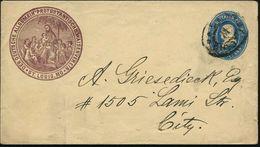 U.S.A. 1890 PU 1 C. Franklin Oval, Blau: DEUTSCHE ALLGEM. PROTESTANTISCHE WAISENVEREIN/St. LOUIS = Jesus Unter Palme M.  - Christendom