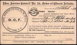 U.S.A. 1888 (12.10.) PP 1 C. Jefferson, Schw.: Theo. Koerner Council No.39, Order Of Chosen Friends (Ordens-Logo: F.A.P. - Christendom