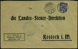 WISMAR/ **i 1923 (8.12.) 1K-Brücke Auf EF 20 Pf. Korbdeckel, Dienst-Bf.: Frei Lt. Avers. No. 3./Großherzogl. Mecklenb./  - History