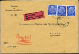 Wien 1939 (28.11.) 25 Pf. Hindenbg., Blau, Reine MeF: Horizontaler 3er-Streifen (gest. WIEN) Dienst-Bf.: Direktion Der S - Geschiedenis