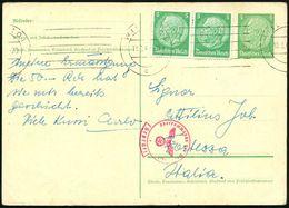 WIEN 101/ C 1940 (18.2.) BdMSt Auf Orts-P 5 Pf. Hindenbg. + 2x 5 Pf. Hindenbg. = 15 Pf. + Kleiner Zensur-1K-Segm.: Geprü - Geschiedenis