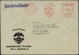 """WIEN 9/ Reichsnährstand/ Blut U.Boden 1942 (8.1.) AFS (= NS-""""Blut- U. Boden""""-Logo) 1L: Personalsache, Motivgl. Dienst-Or - Geschiedenis"""