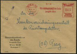 WIEN 49/ Betriebskrankenkasse Des Reichs/ Zweigstelle Wien 1944 (3.6.) AFS Auf Entspr. Dienst-Fern-Bf. N. Prag (Dü.E-5CG - Geschiedenis