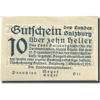 Billet, Autriche, Salzburg, 10 Heller, Valeur Faciale, 1919, SPL Mehl:FS860I - Austria