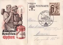 ALLEMAGNE   1941   ENTIER POSTAL/GANZSACHE/POSTAL STATIONERY CARTE ILLUSTREE DE PROPAGANDE DE ERFURT  TAG DER BRIEFMARKE - Deutschland