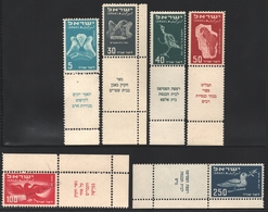 Israel 1950  Yv. Av 1-6,  Airmail, Birds – Tab - MNH - Poste Aérienne