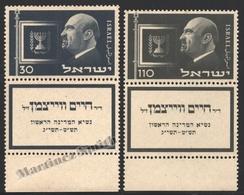 Israel 1952 Yv. 62-63, Anniversary Death Of Presudent Dr. Chaim Weizmann – Tab - MNH - Nuevos (con Tab)