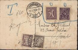 YT Deutsches Reich 193 Ou 196 ? + 144 Refusés Par Poste Française Sarre Occupée CAD Saarbrücken 2 BRF 1  5 9 22 Taxes Fr - Zone Française