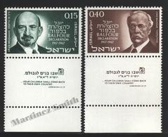 Israel 1967 Yv. 346-47, 50th Ann. Balfour Declaration, Jewish State – Tab - MNH - Israel