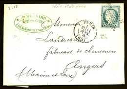 CP9- 23-  LETTRE CLASSIQUE TIMBRE CÉRÈS N°60C- RARE OBLIT. PETITE ETOILE PLEINE (?)- CAD PARIS 1876 T.1340- 3 SCANS - Marcophilie (Lettres)