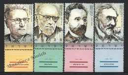 Israel 2002  Yv. 1610-13, Personalities, Historians (I)– Tab - MNH - Israel