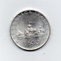 """ITALIA - 1958 - 500 Lire """"Caravelle"""" - Argento 835 - Peso 11 Grammi - (MW2398) - 1946-… : Republic"""