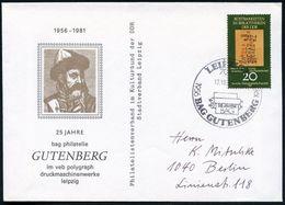 """7010 LEIPZIG 1/ 25 JAHRE/ BAG GUTENBERG 1981 (17.10.) SSt (Druckwalzen, Papier) Auf EF 20 Pf. """"Papyros Ebers"""" Auf Gutenb - Andere"""
