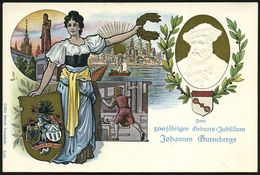 "Mainz 1900 PP 5 Pf. Germania ""1900"": 500 Jährige Gutenbergfeier MAINZ 1900 = Gutenbergdenkmal, Histor. Drucker, Mainz Mi - Andere"