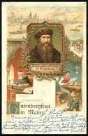 MAINZ/ * 1 D 1900 (27.4.) 1K-Gitter Auf Color-Litho-Jubil.-Ak.: 500-JÄHRIGE GUTENBERG-FEIER MAINZ (4 Ansichten Inkl. Gut - Andere