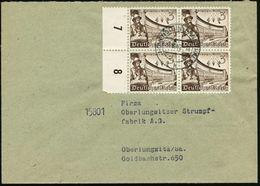 DEUTSCHES REICH 1940 (Aug.) 3 Pf. Leipziger Messe, Reine MeF: Rand-4er-Block = Johannes Gutenberg /Deutsche Bibliothek , - Andere