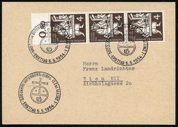 (22b) B.R.D. 1954 (5.5.) SSt.: (22 B) MAINZ 1/500 JAHRE GUTENBERG-BIBEL/ERSTTAG (Kreuz-Globus) Auf 3er-Streifen 4 Pf. Gu - Andere