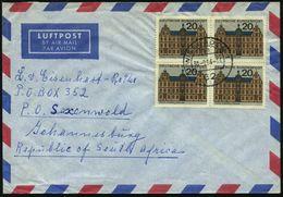 B.R.D. 1964 (30.9.) 20 Pf. Mainz, Gutenberg-Museum, Reine MeF: 4er-Block , Zentr. Gest. (62 Wiesbadeb) Übersee-Flp.-Bf.  - Andere