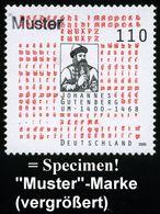 """B.R.D. 2000 (Feb.) 110 Pf. """"600. Geburtstag Joh. Gutenberg"""" Mit Amtl. Handstempel  """"M U S T E R"""" , Postfr. + Amtl. Ankün - Andere"""