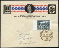 JUGOSLAWIEN 1940 (29.9.) G O L D E N E R  SSt: ZAGREB/..1440 1940/GUTENBERG Auf EF 5,50 Din. Gutenberg-Jubiläum Klar Ges - Andere