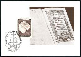 ÖSTERREICH 1953 (10.11.) 1,50 S. + 40 G. Evangel. Schule Wien = Luther-Bibel Von Gutenberg + Passender SSt.: WIEN 1/ INT - Andere