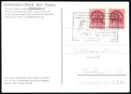 UNGARN 1940 (29.6.) SSt.: BUDAPEST/JANOS/ÜNNEPELYE.. = 500. Geburtstag Joh. Gutenberg (Brustbild Gutenberg) Motivgl. Col - Andere