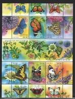 Israel 2011  Yv. 2107-12, Fauna, Butterflies – Tab - MNH - Israel