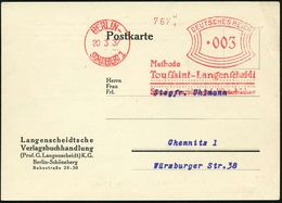 BERLIN-/ SCHÖNEBERG1/ Methode/ Toussaint-Langenscheidt/ Sprachunterrichtsbriefe Wörterbücher 1937 (20.3.) Seltener AFS-T - Languages
