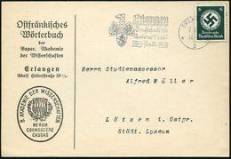 ERLANGEN/ Die Fränkische/ Universitäts-/ Stadt 1935 (7.11.) MWSt, Teils Sütterlin (Wappen) Auf EF 6 Pf. Dienst, Dienst-K - Languages