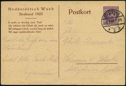 STRALSUND/ *2b 1923 (8.7.) 1K-Brücke Auf .PP 100 Mk. Ziffer, Lila: Nedderdütsch Woch../Is Noch So Dreckig Unsre Tied.. ( - Languages