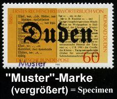 "B.R.D. 1980 (Feb.) 60 Pf. ""100 Jahre 1. Rechtschreibwörterbuch V. Konrad Duden"" Mit Amtl. Handstempel  ""M U S T E R"" , P - Languages"
